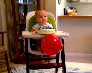 This is my adorable nephew, who, for much of his first birthday celebration, refused to smash his smash cake. Way to only think about yourself and your own needs, buddy. You have an entire audience staring at you, waiting for some smash.